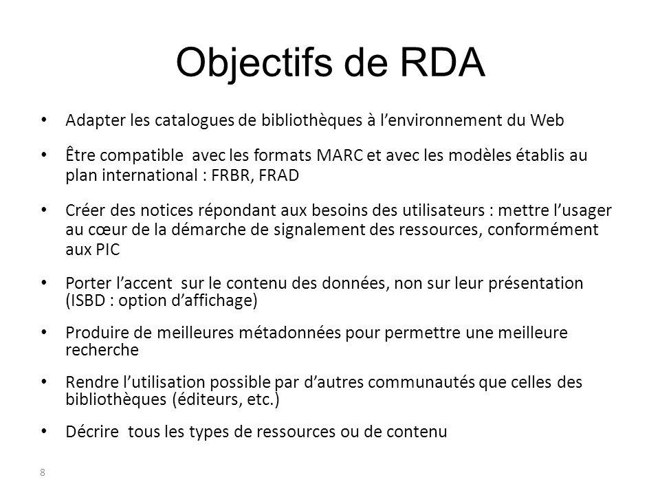 Objectifs de RDA Adapter les catalogues de bibliothèques à l'environnement du Web.