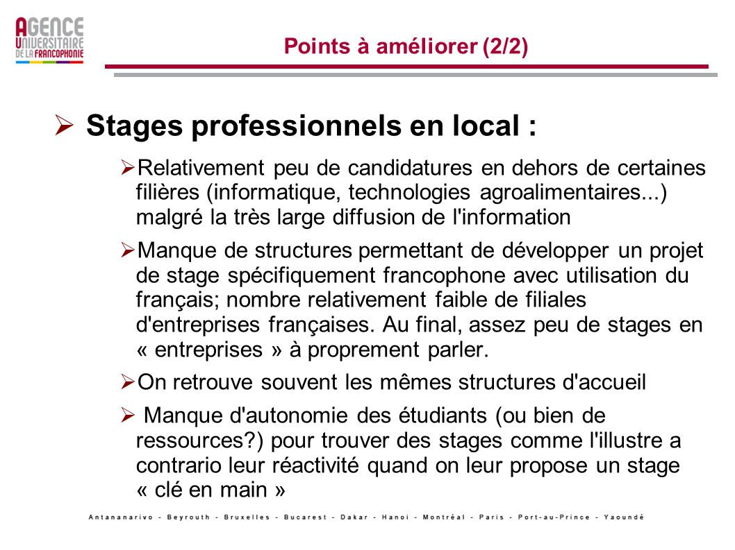 Stages professionnels en local :