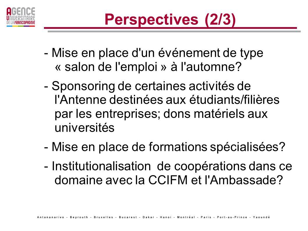 Perspectives (2/3) - Mise en place d un événement de type « salon de l emploi » à l automne