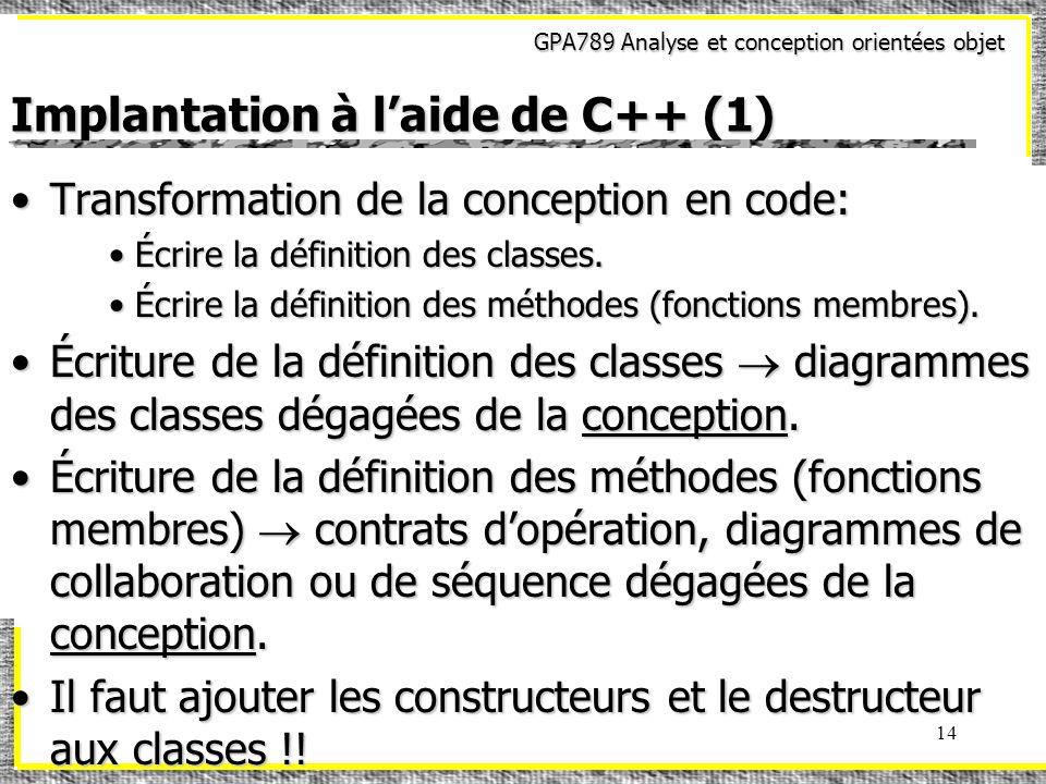 Implantation à l'aide de C++ (1)