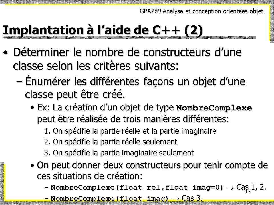 Implantation à l'aide de C++ (2)