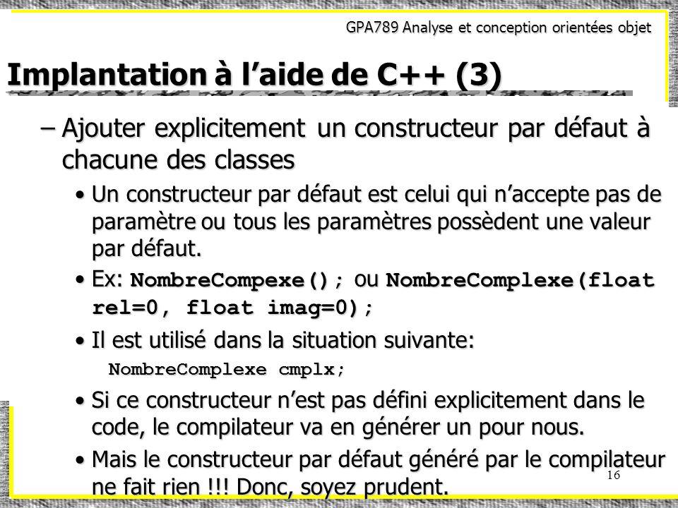 Implantation à l'aide de C++ (3)