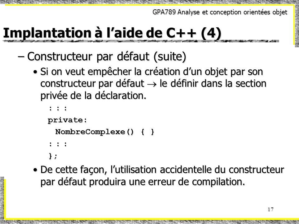 Implantation à l'aide de C++ (4)