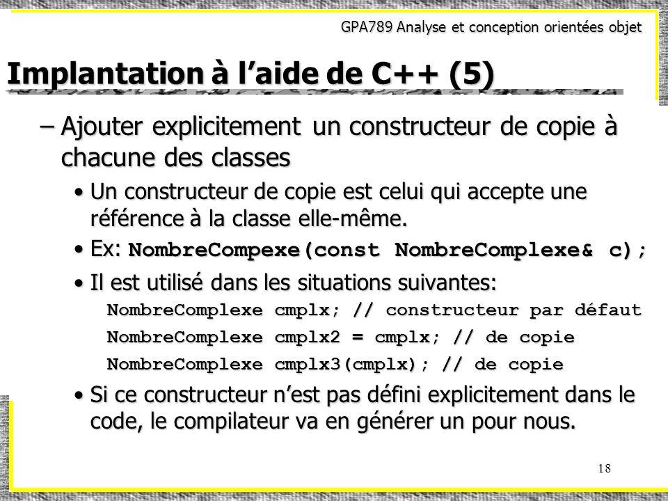 Implantation à l'aide de C++ (5)