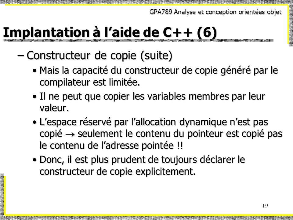Implantation à l'aide de C++ (6)