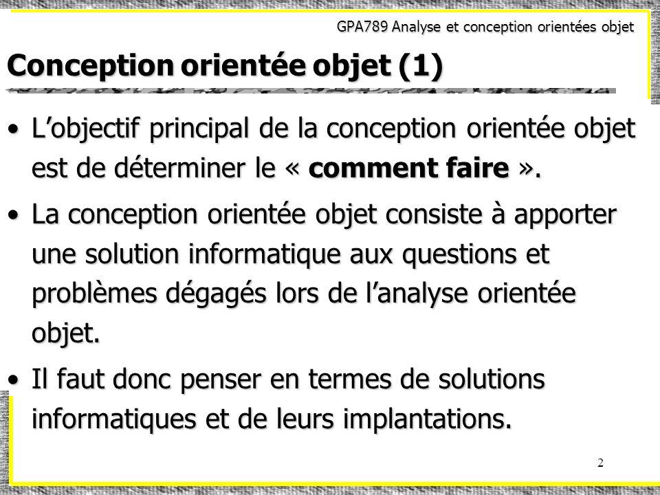 Conception orientée objet (1)