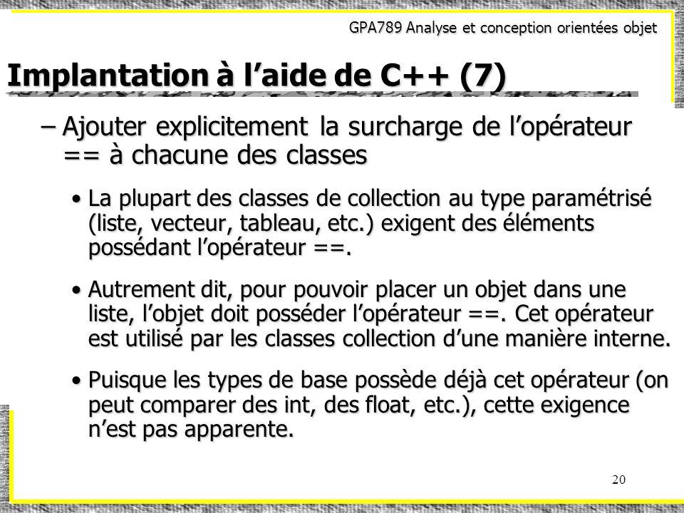Implantation à l'aide de C++ (7)