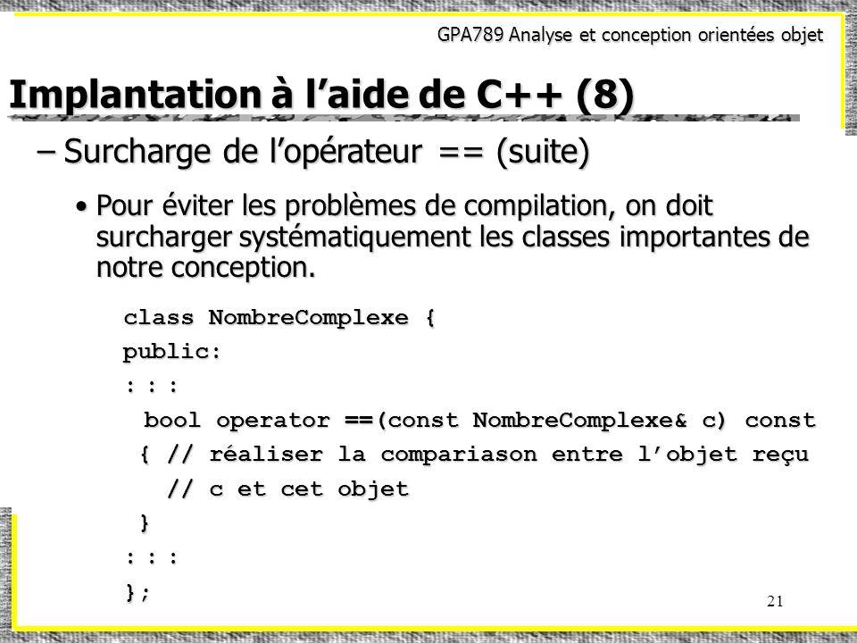 Implantation à l'aide de C++ (8)