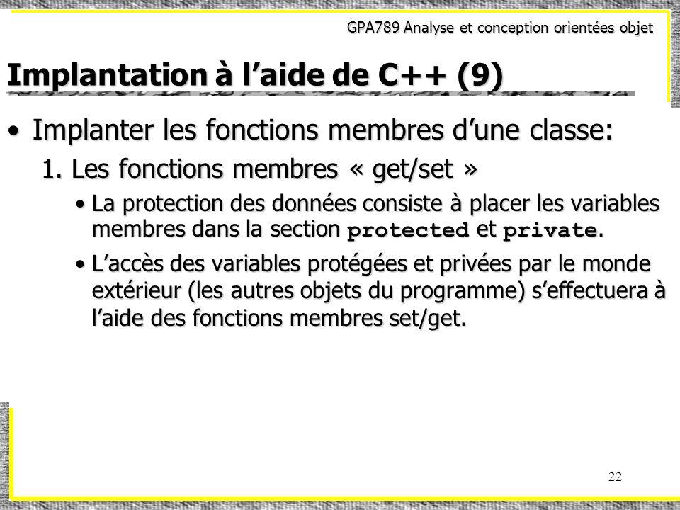 Implantation à l'aide de C++ (9)