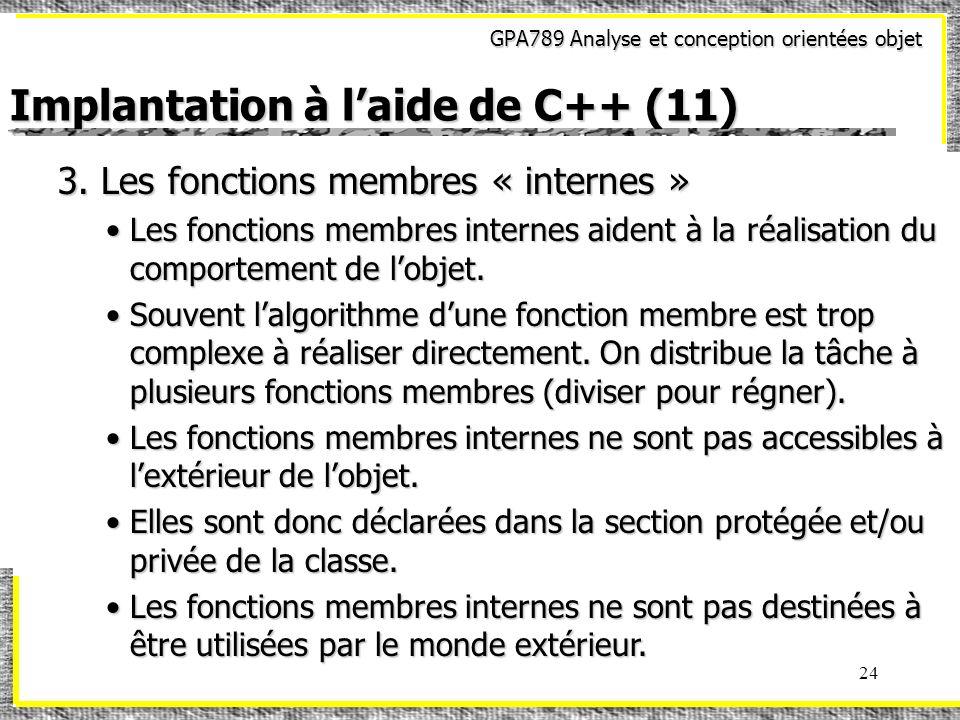 Implantation à l'aide de C++ (11)