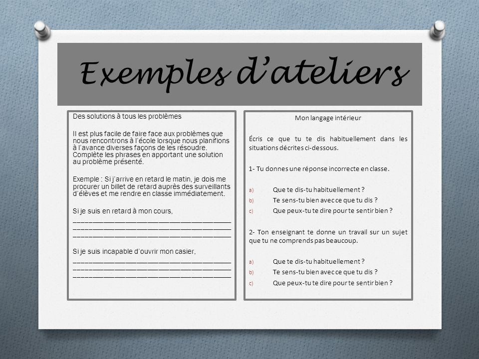 Exemples d'ateliers