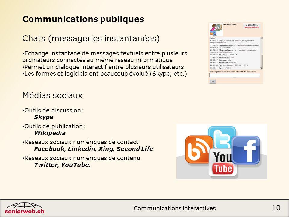 Communications publiques Chats (messageries instantanées)