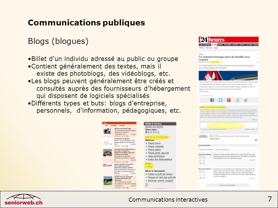 Communications publiques Blogs (blogues)