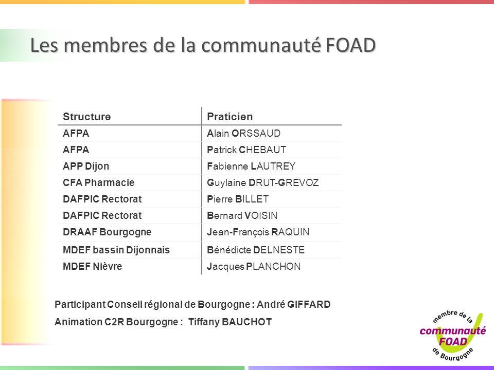 Les membres de la communauté FOAD