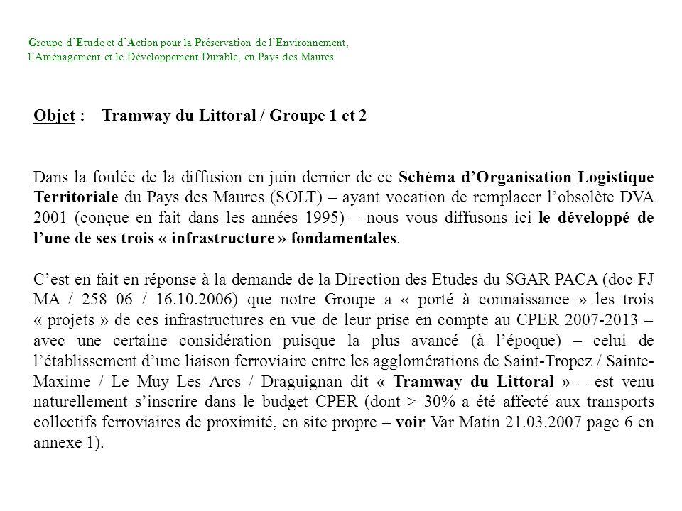 Objet : Tramway du Littoral / Groupe 1 et 2
