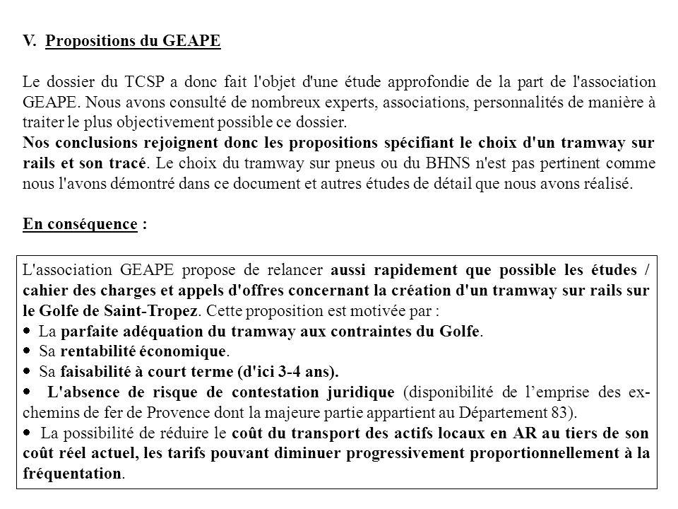 V. Propositions du GEAPE