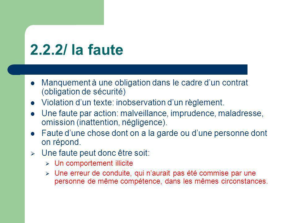 2.2.2/ la faute Manquement à une obligation dans le cadre d'un contrat (obligation de sécurité) Violation d'un texte: inobservation d'un règlement.