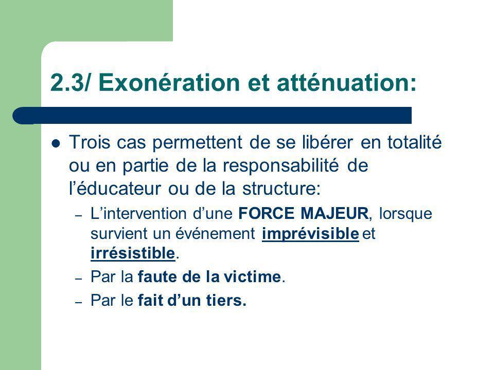 2.3/ Exonération et atténuation: