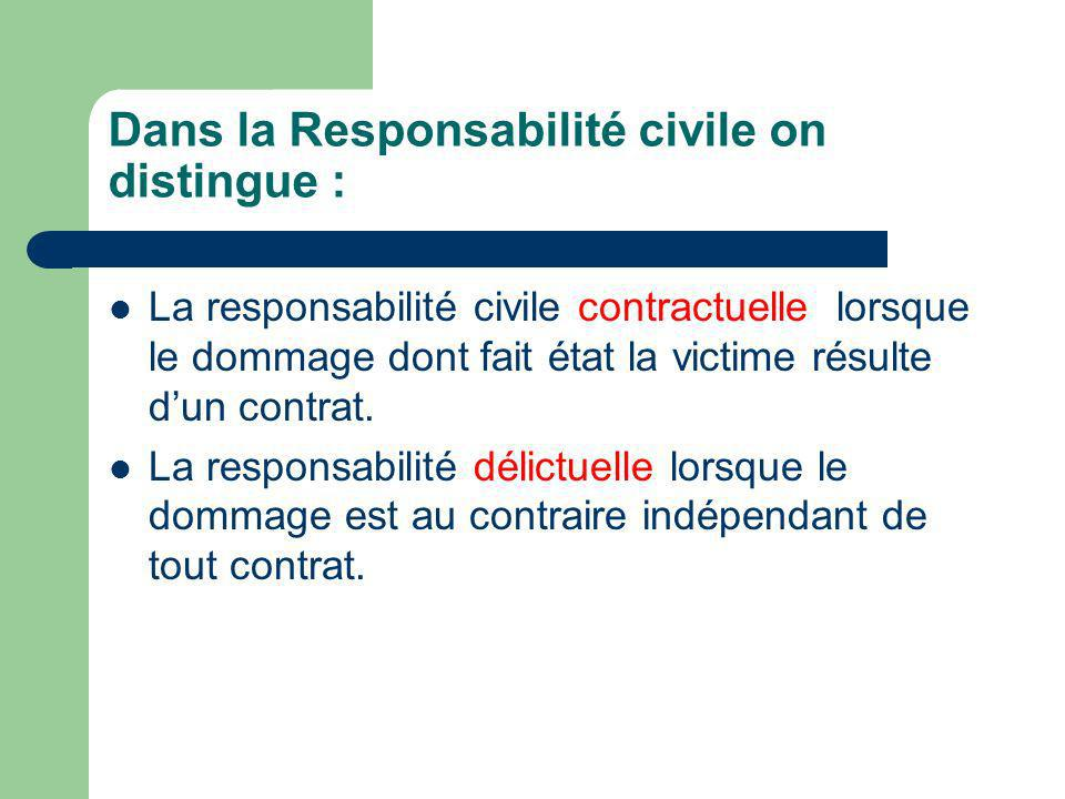 Dans la Responsabilité civile on distingue :