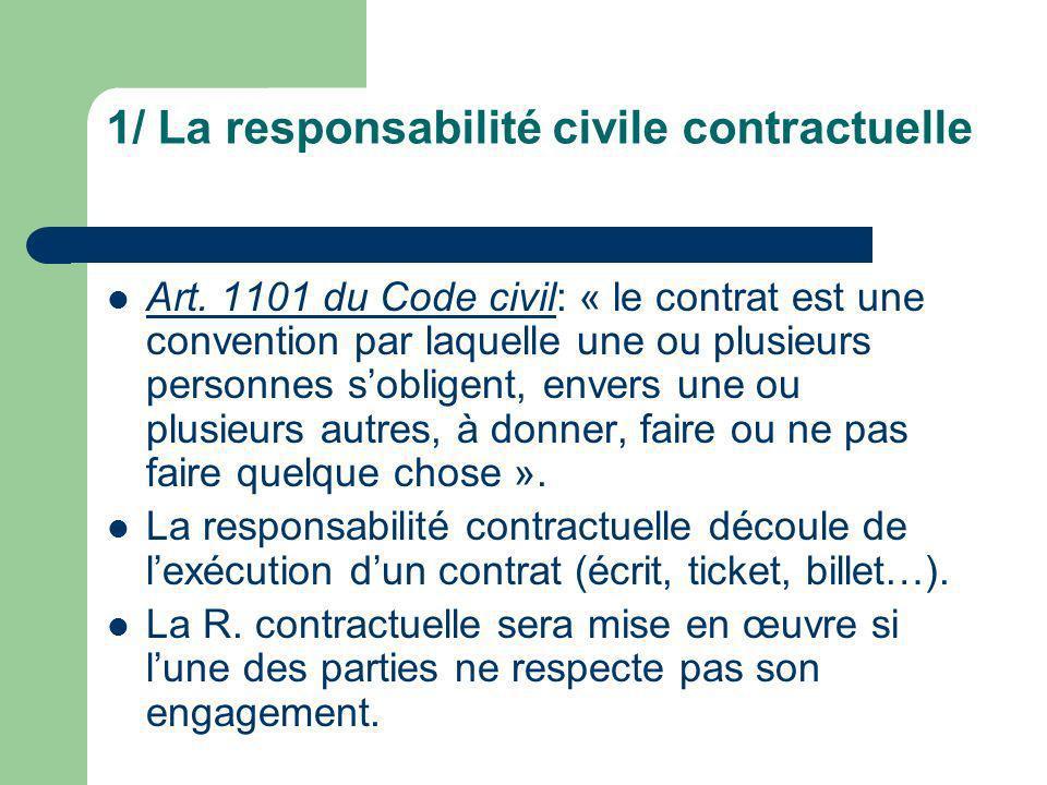 1/ La responsabilité civile contractuelle