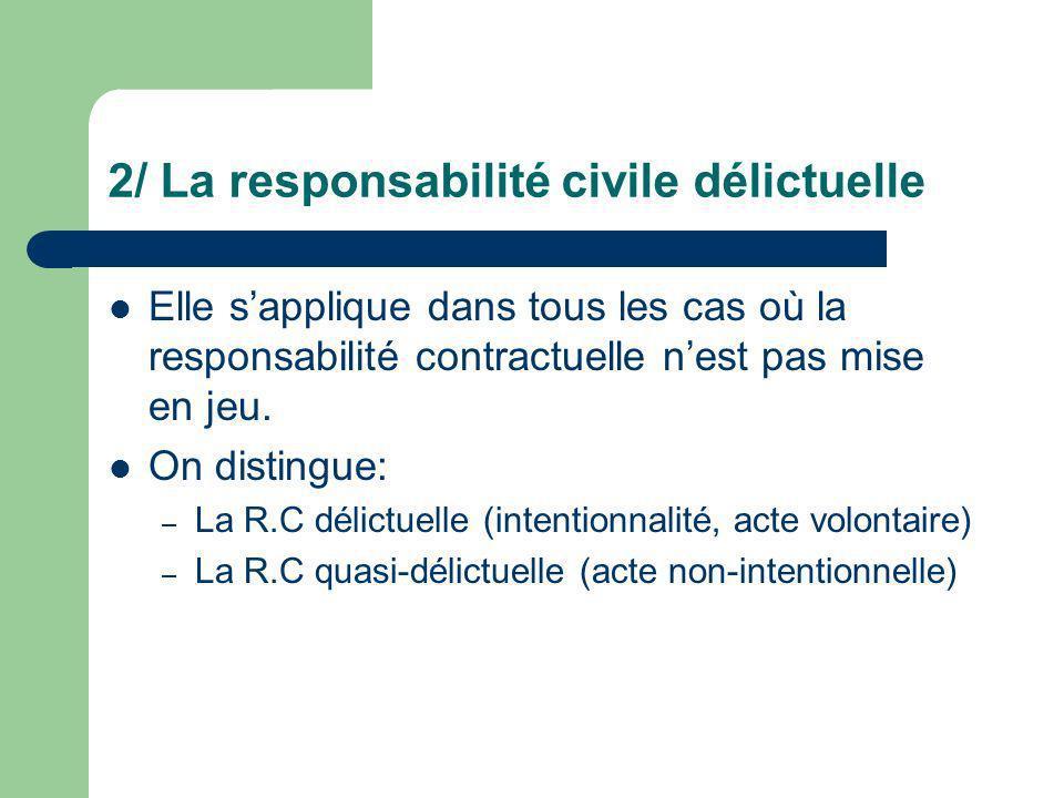 2/ La responsabilité civile délictuelle