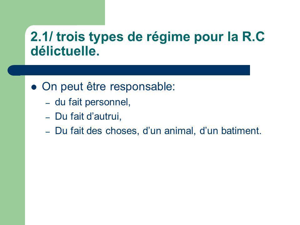 2.1/ trois types de régime pour la R.C délictuelle.