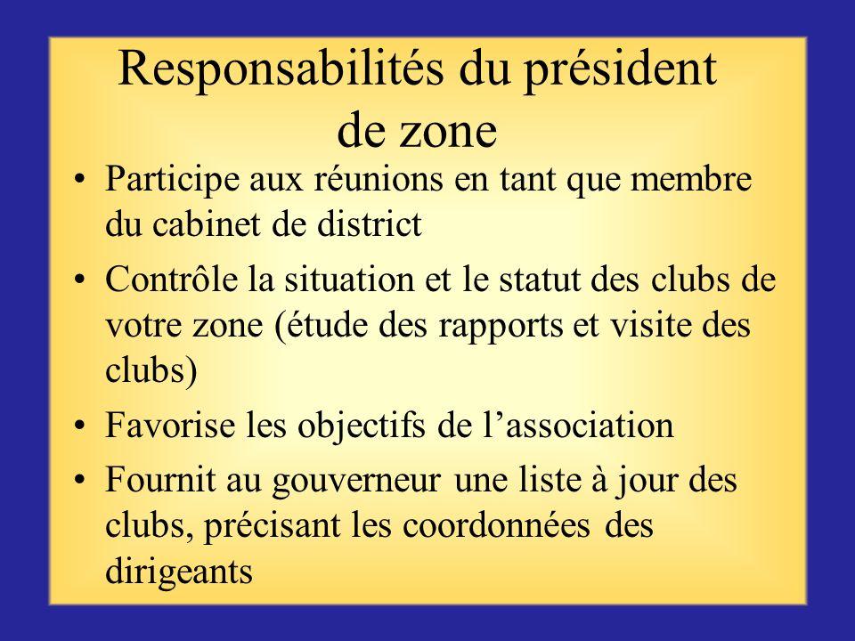 Responsabilités du président de zone