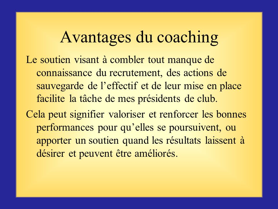 Avantages du coaching