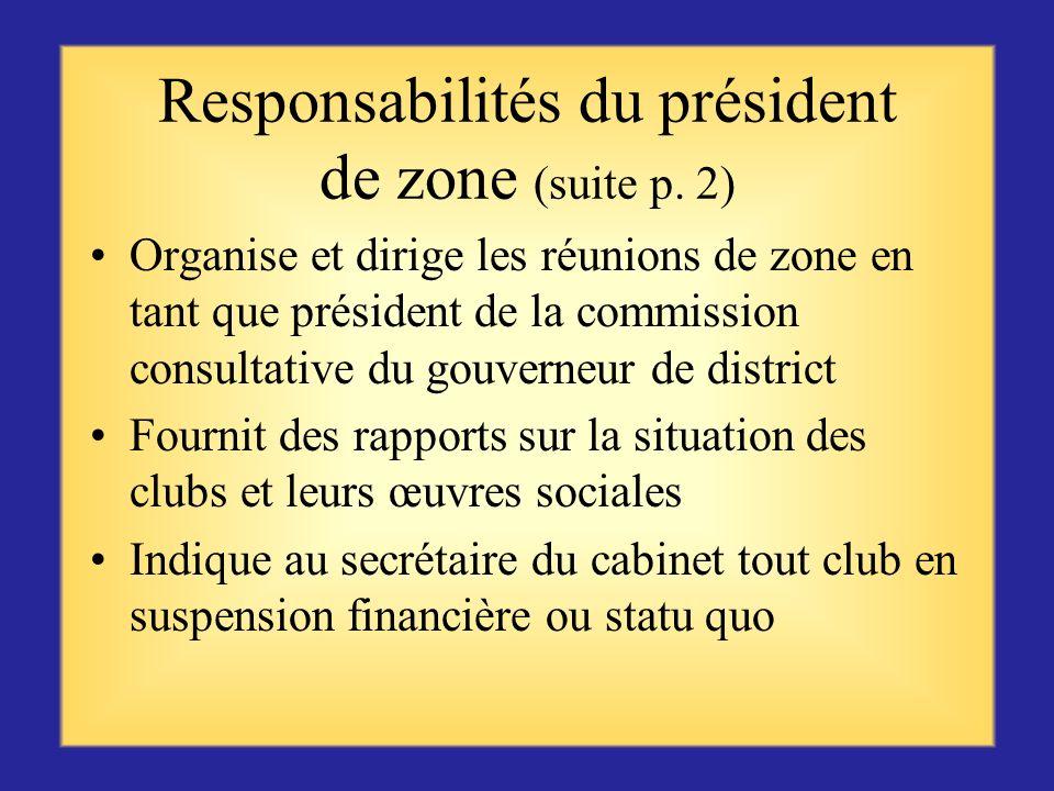 Responsabilités du président de zone (suite p. 2)