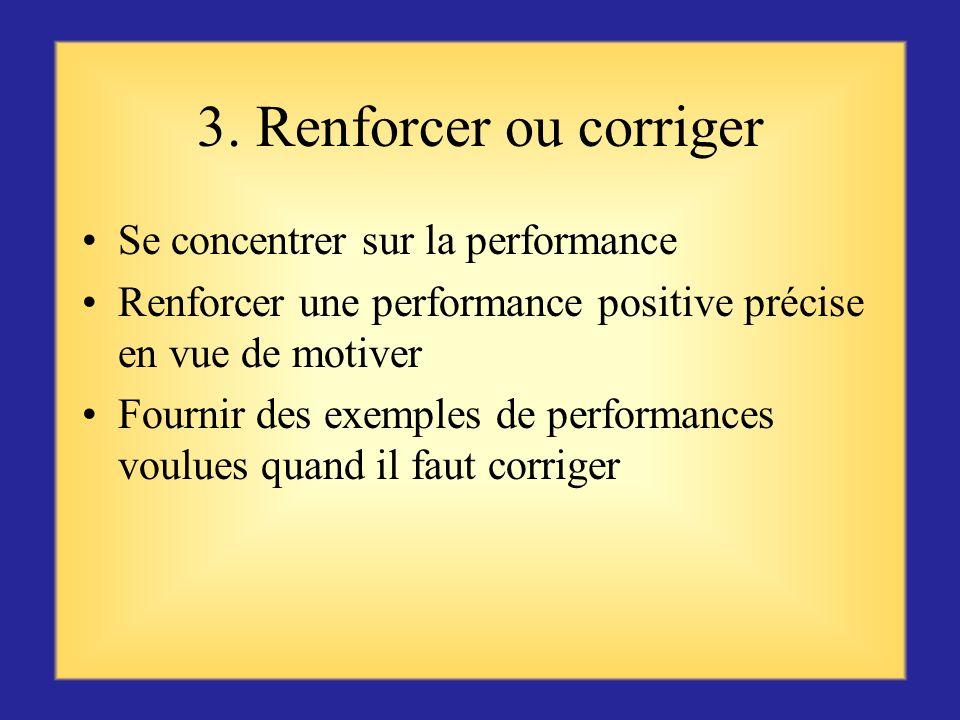 3. Renforcer ou corriger Se concentrer sur la performance