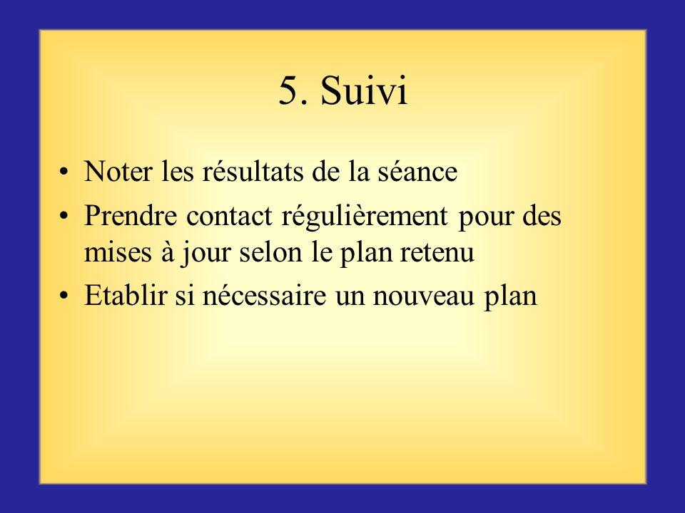 5. Suivi Noter les résultats de la séance