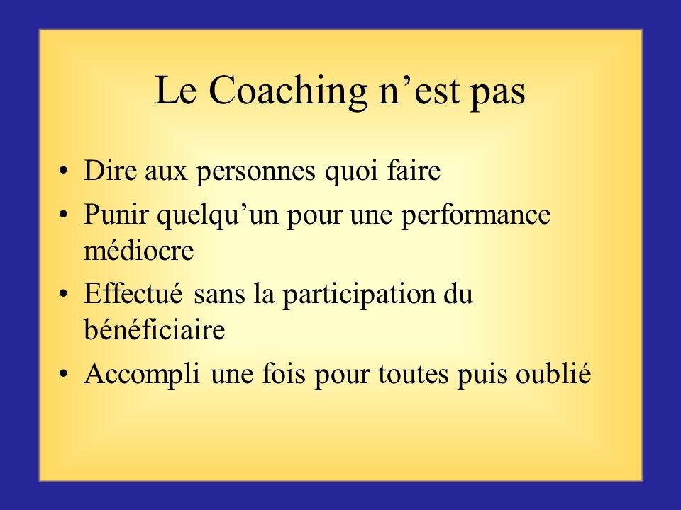 Le Coaching n'est pas Dire aux personnes quoi faire
