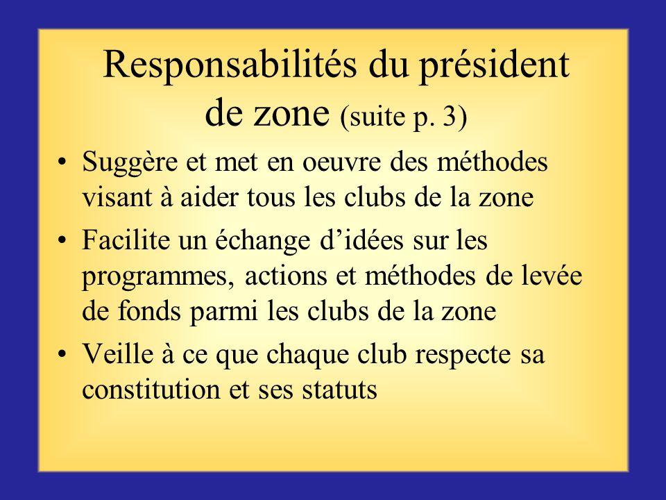 Responsabilités du président de zone (suite p. 3)