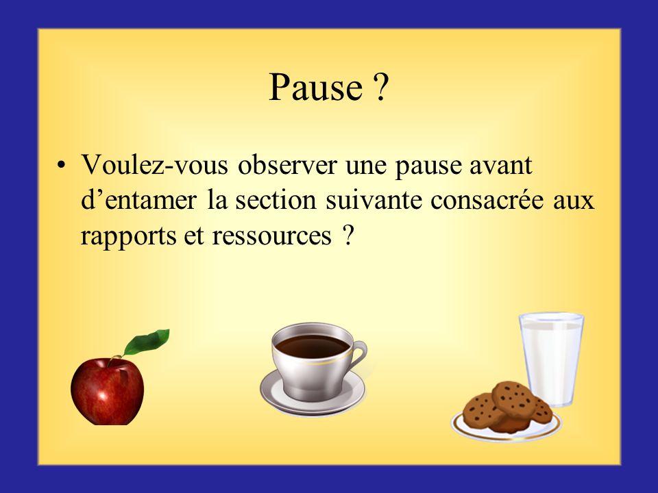 Pause Voulez-vous observer une pause avant d'entamer la section suivante consacrée aux rapports et ressources