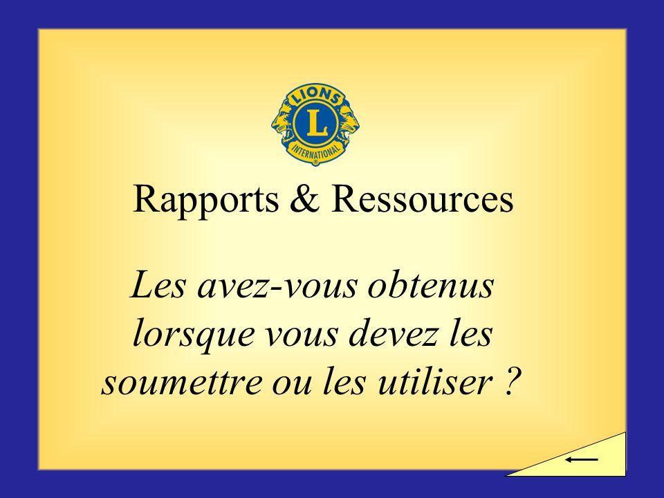 Rapports & Ressources Les avez-vous obtenus lorsque vous devez les soumettre ou les utiliser
