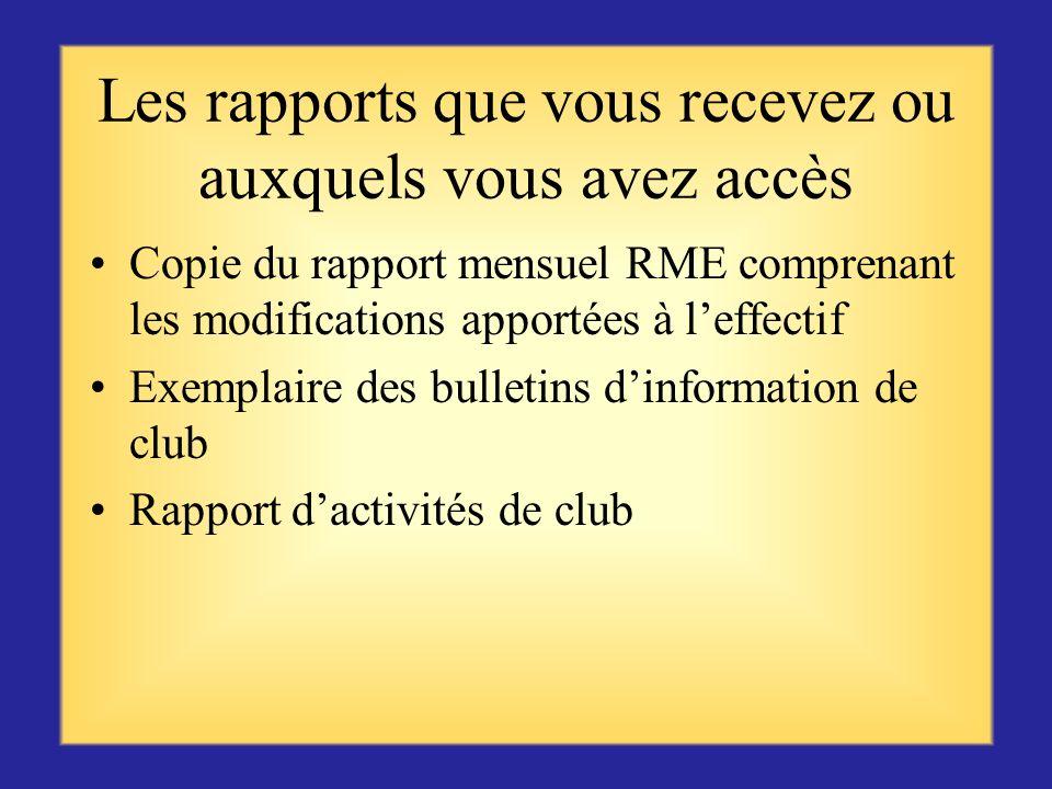 Les rapports que vous recevez ou auxquels vous avez accès