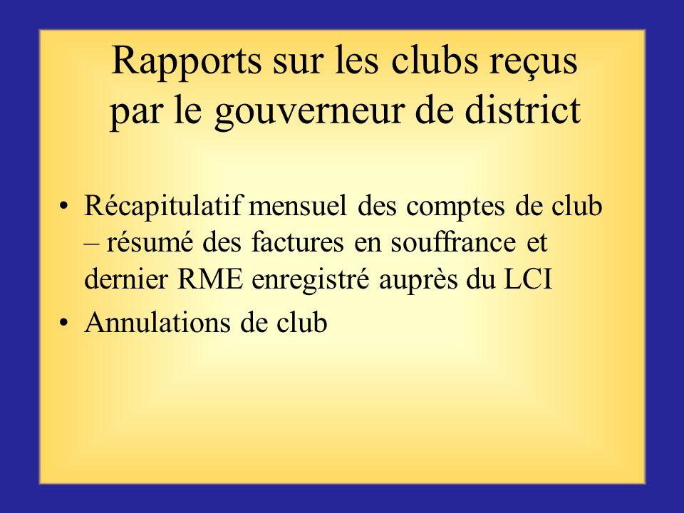 Rapports sur les clubs reçus par le gouverneur de district