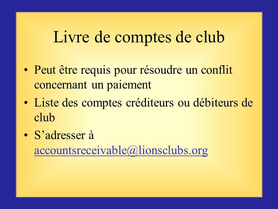 Livre de comptes de club