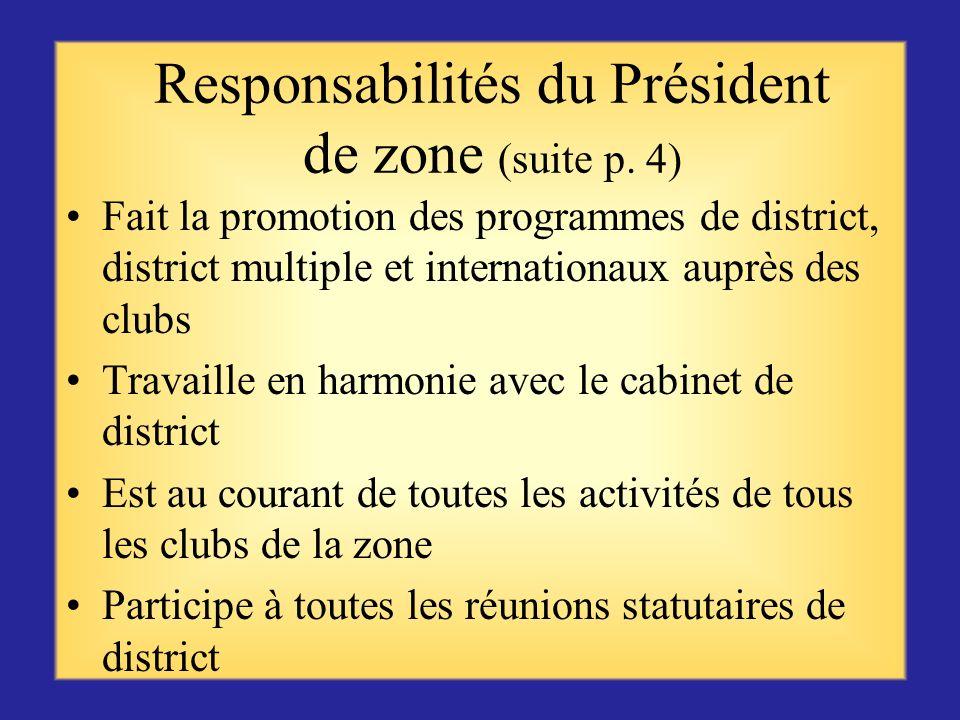 Responsabilités du Président de zone (suite p. 4)