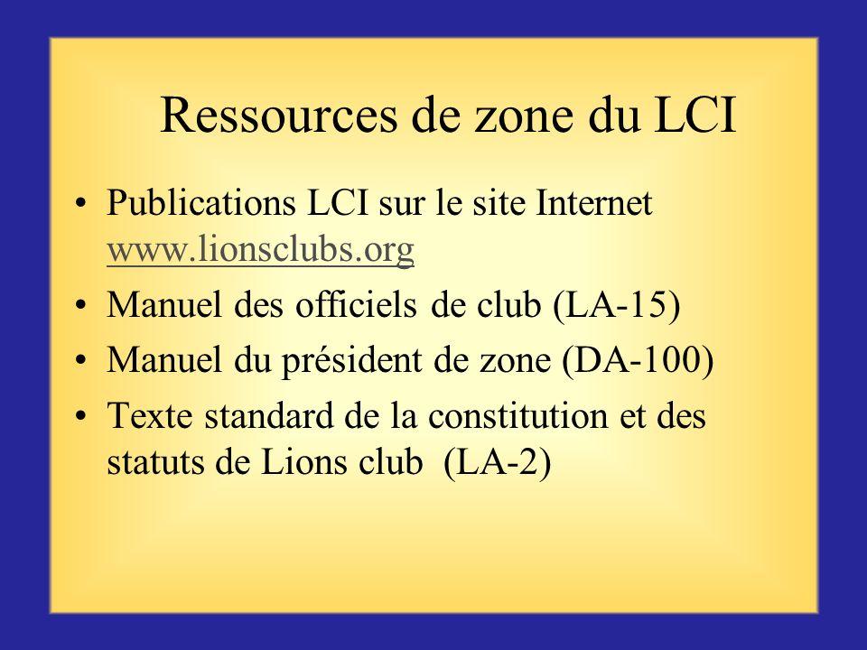 Ressources de zone du LCI