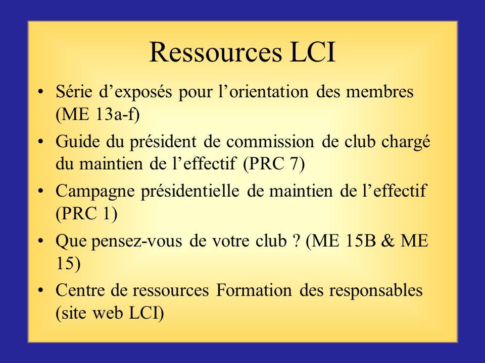Ressources LCI Série d'exposés pour l'orientation des membres (ME 13a-f)