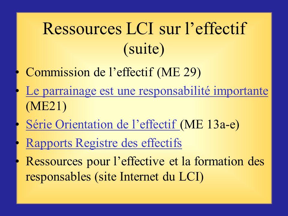 Ressources LCI sur l'effectif (suite)