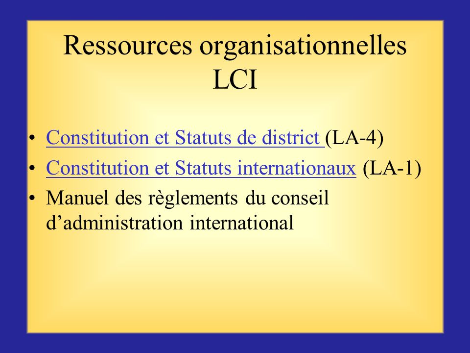 Ressources organisationnelles LCI