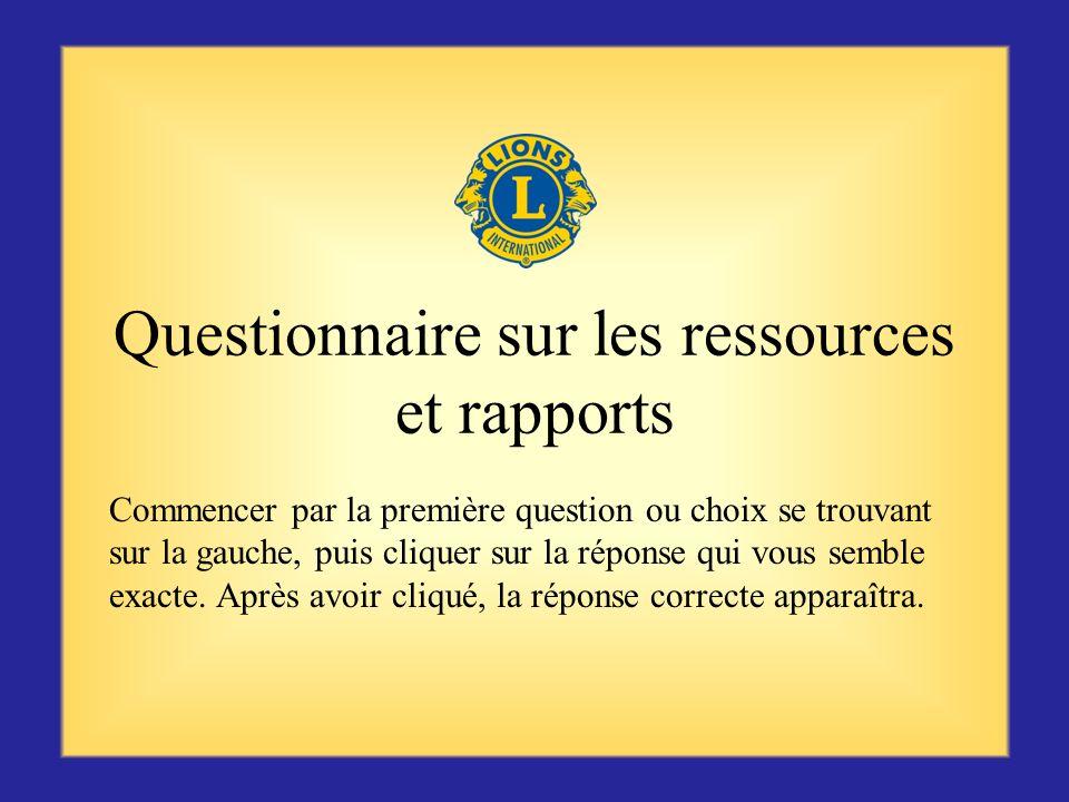 Questionnaire sur les ressources et rapports