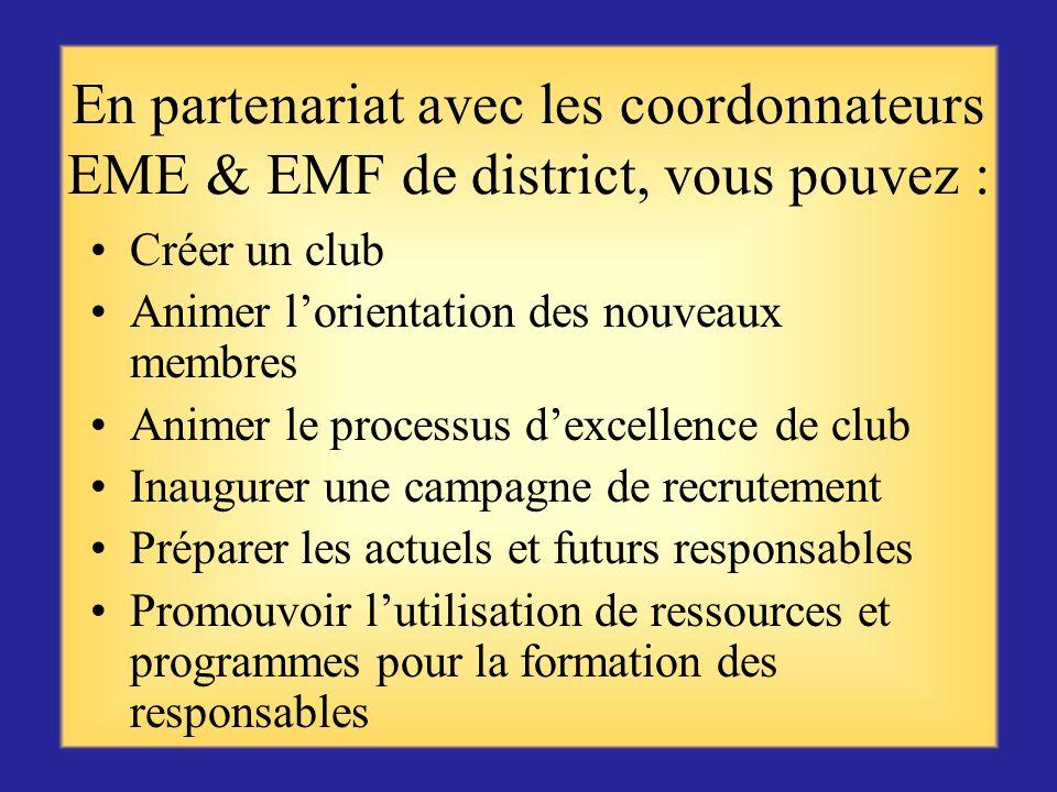 En partenariat avec les coordonnateurs EME & EMF de district, vous pouvez :