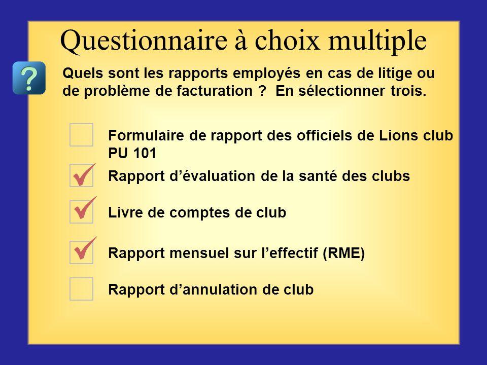 Questionnaire à choix multiple