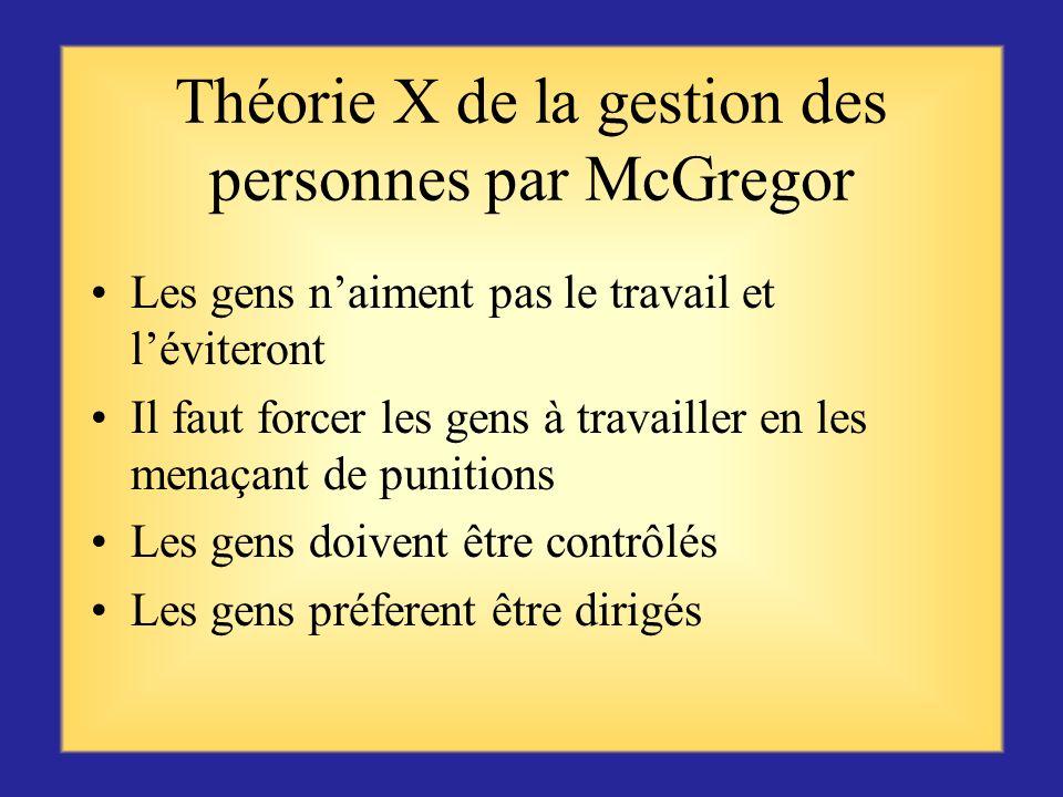 Théorie X de la gestion des personnes par McGregor