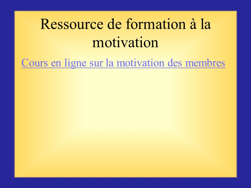 Ressource de formation à la motivation