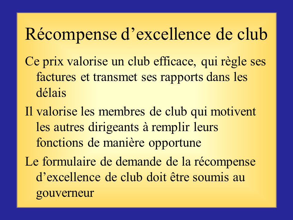 Récompense d'excellence de club