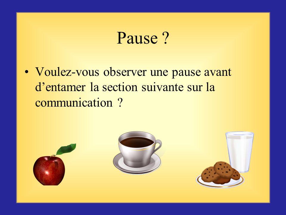 Pause . Voulez-vous observer une pause avant d'entamer la section suivante sur la communication .